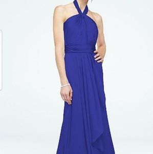 Bluish Purple Halter Gown for Weddings or Prom